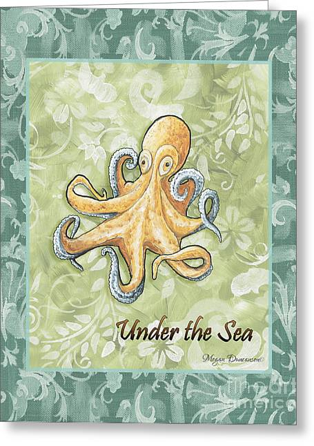 Licensor Greeting Cards - Coastal Octopus Painting Whimsical Damask Pattern UNDER THE SEA Greeting Card by Megan Duncanson