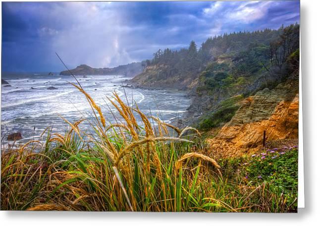 Foggy Beach Greeting Cards - Coastal Oregon Greeting Card by Debra and Dave Vanderlaan