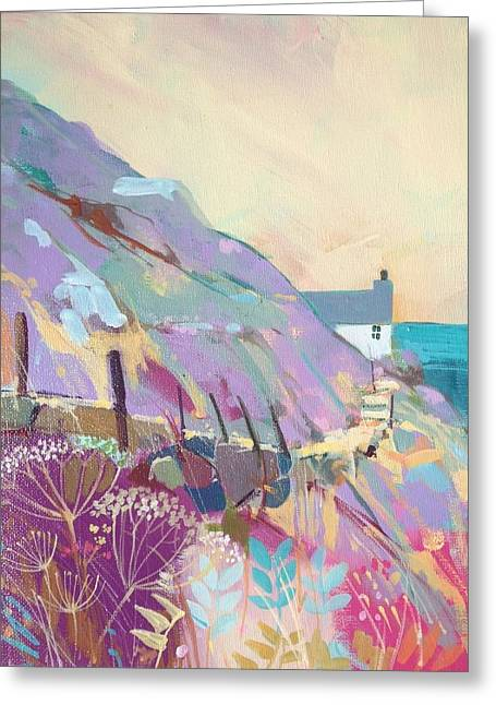 Heather Paintings Greeting Cards - Coastal Path Greeting Card by Annabel Burton