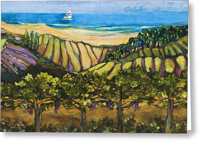 Pinot Paintings Greeting Cards - California Coastal Vineyards and Sail Boat Greeting Card by Jen Norton