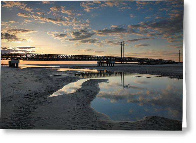 Pea Island Greeting Cards - Coastal Ponds And Bridge I Greeting Card by Steven Ainsworth