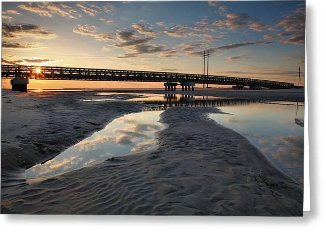 Coastal Ponds And Bridge II Greeting Card by Steven Ainsworth