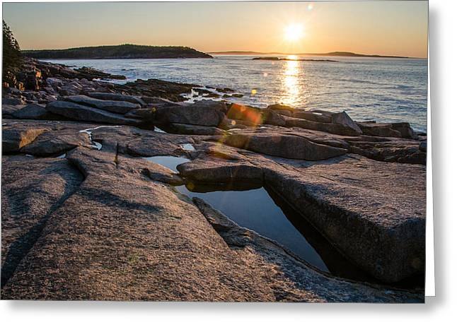 Maine Landscape Greeting Cards - Coastal Rays Greeting Card by Kristopher Schoenleber