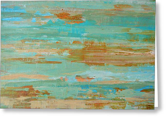 Seacape Paintings Greeting Cards - Coastal Reflections I Greeting Card by Filomena Booth