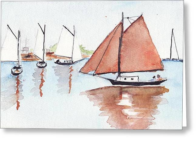 Maine Coast Drawings Greeting Cards - Coastal Reflections Greeting Card by Robert Parsons