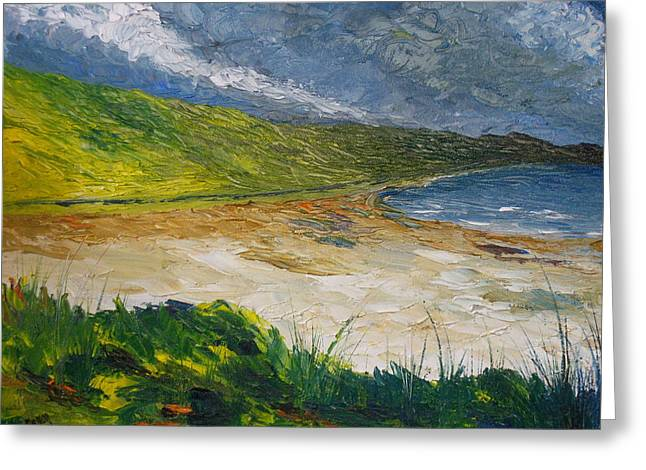 Sand Dunes Paintings Greeting Cards - Coastal road to Barleycove Greeting Card by Conor Murphy