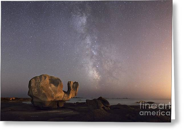Beach At Night Greeting Cards - Coastal Rock Under The Milky Way Greeting Card by Laurent Laveder