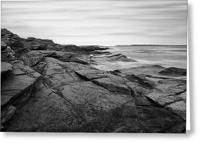 Lighthouse At Sunset Greeting Cards - Coastal Rocks Black and White Greeting Card by Lourry Legarde