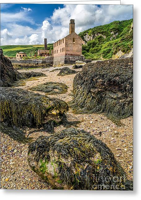 Boiler Greeting Cards - Coastal Ruins Greeting Card by Adrian Evans