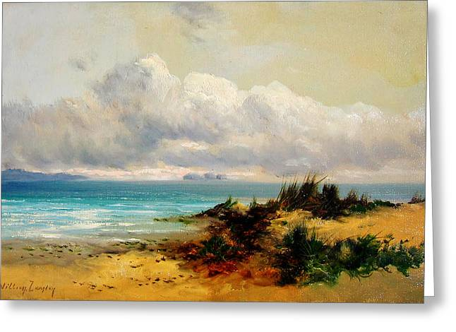 Sand Dunes Paintings Greeting Cards - Coastal Scene with Sand Dune Greeting Card by Celestial Images