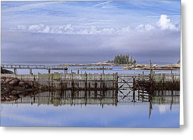 Pen Greeting Cards - Coastal Scenic at Stonington Maine Greeting Card by Marty Saccone