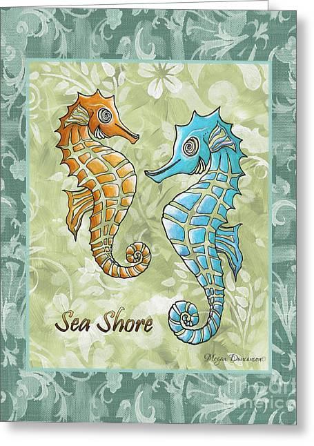 Coastal Sea Horse Painting Whimsical Damask Pattern Sea Shore Greeting Card by Megan Duncanson