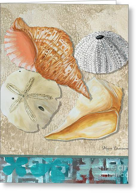 Shell Pattern Greeting Cards - Coastal Sea Shell Painting Original Art At the Beach by Megan Duncanson Greeting Card by Megan Duncanson
