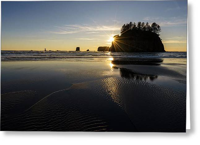 Shi Greeting Cards - Coastal Serenity Dusk Greeting Card by Mike Reid