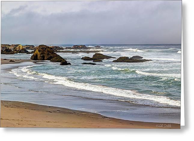 Rag Rug Greeting Cards - Coastal Serenity  Greeting Card by Heidi Smith