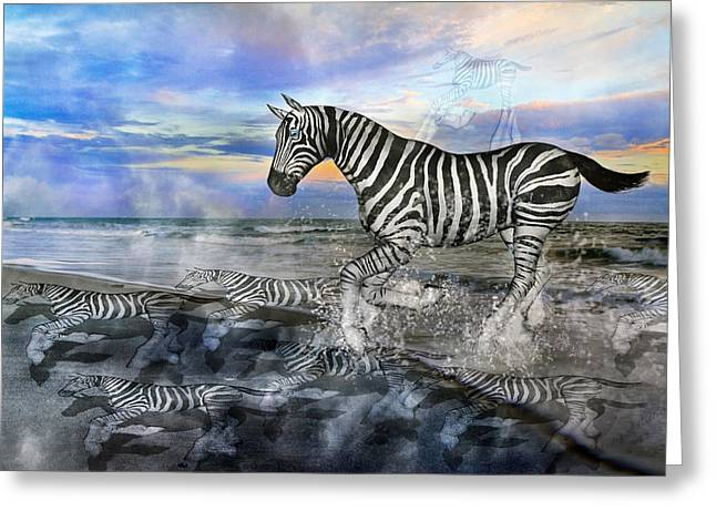 Fog Mixed Media Greeting Cards - Coastal Stripes I Greeting Card by Betsy C  Knapp