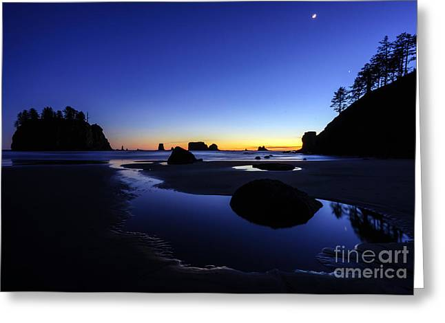Cannon Beach Greeting Cards - Coastal Sunset Skies Reflection Greeting Card by Mike Reid