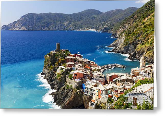 Coastal Town on a Cliff Greeting Card by George Oze