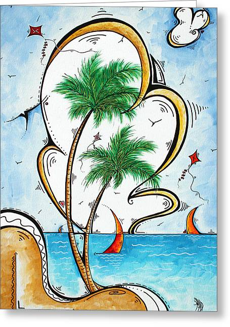 Kite Paintings Greeting Cards - Coastal Tropical Art Contemporary Sailboat Kite Painting Whimsical Design SUMMER DAZE by MADART Greeting Card by Megan Duncanson