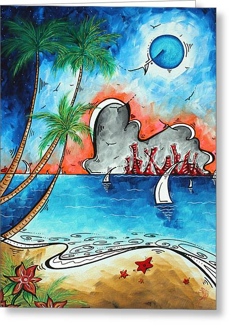 Abstract Beach Landscape Paintings Greeting Cards - Coastal Tropical Beach Art Contemporary Painting Whimsical Design TROPICAL VACATION by MADART Greeting Card by Megan Duncanson