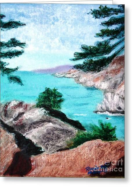 Highway Pastels Greeting Cards - Coastal View Greeting Card by Ronine McIntyre