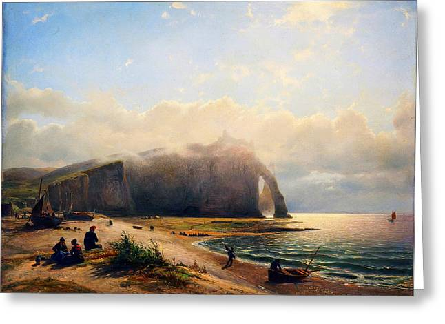 Kilburne Posters Greeting Cards - Coastal View Zeegezicht aan de kust Willem Anthonie van Deventer 1880 Greeting Card by MotionAge Designs