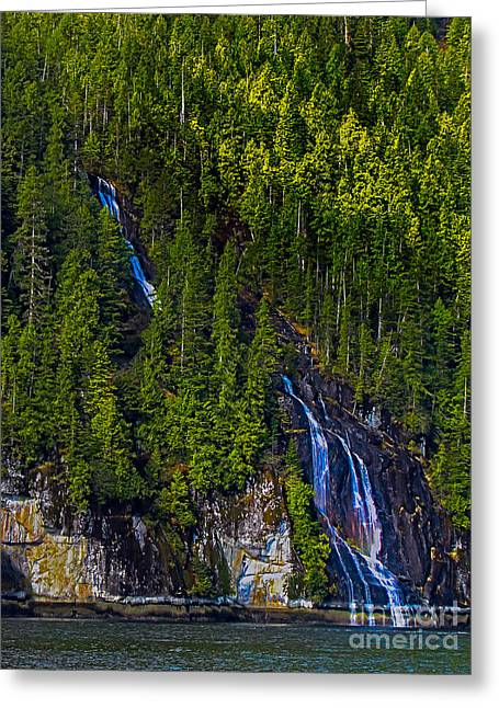 Queen Charlotte Strait Greeting Cards - Coastal Waterfall Greeting Card by Robert Bales