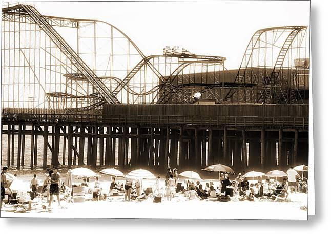 Coaster Ride Greeting Card by John Rizzuto