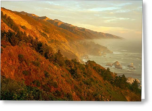 Big Sur California Greeting Cards - Coastline At Dusk, Big Sur, California Greeting Card by Panoramic Images
