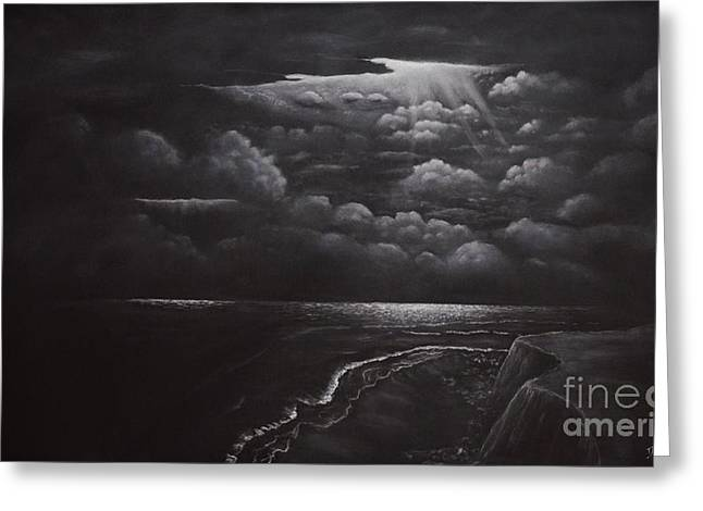 Moon Beach Drawings Greeting Cards - Coastline at Night Greeting Card by David Swope