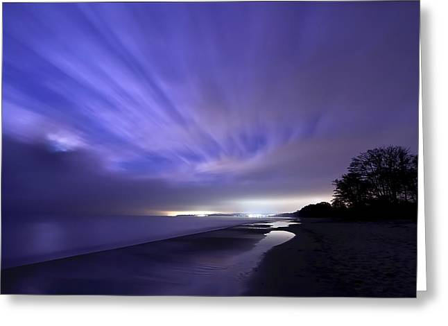Exposure Greeting Cards - Coastline At Night Greeting Card by EXparte SE