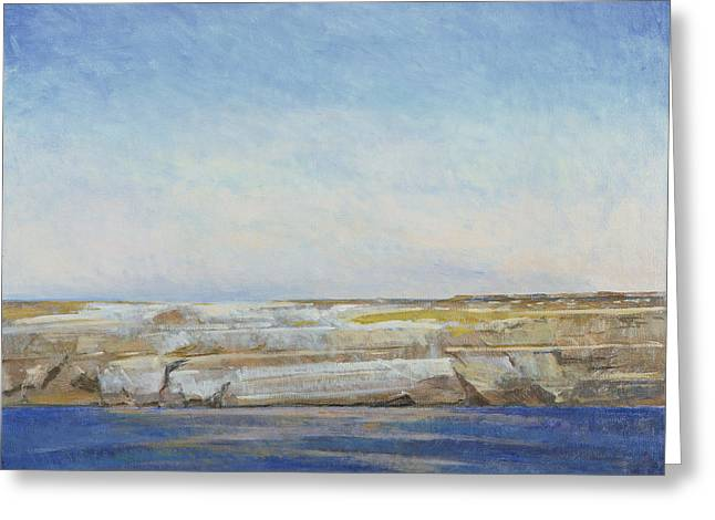 Rocks Greeting Cards - Coastline, Gozo Oil On Canvas Greeting Card by Christopher Glanville