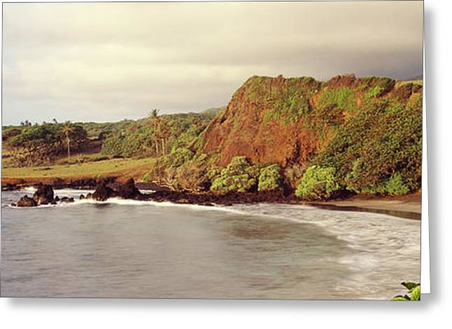 Ocean Photography Greeting Cards - Coastline, Hamoa Beach, Hana, Maui Greeting Card by Panoramic Images
