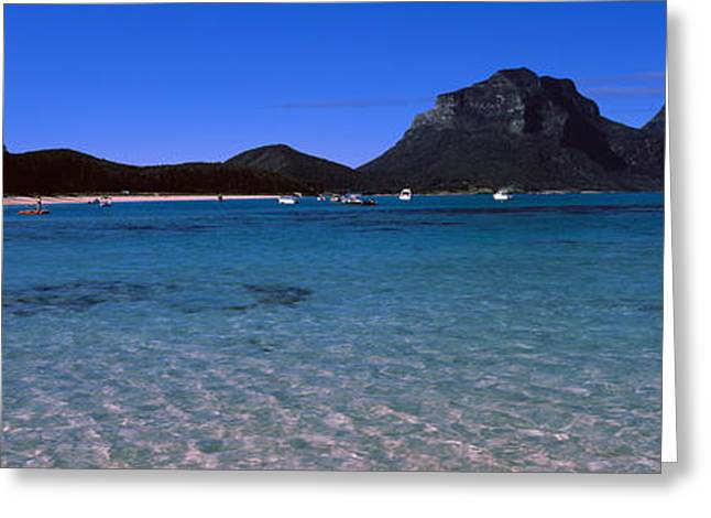 Howe Greeting Cards - Coastline, Lagoon Beach, Mt Gower, Lord Greeting Card by Panoramic Images