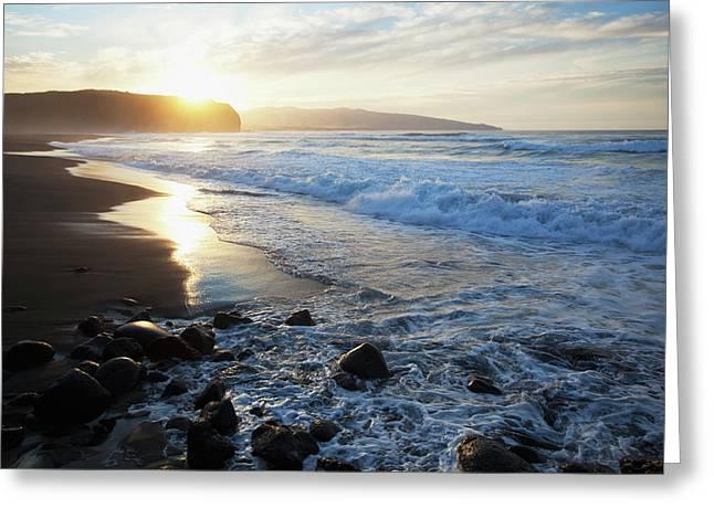 Coastline Of An Island In Portugal Greeting Card by Carl Bruemmer