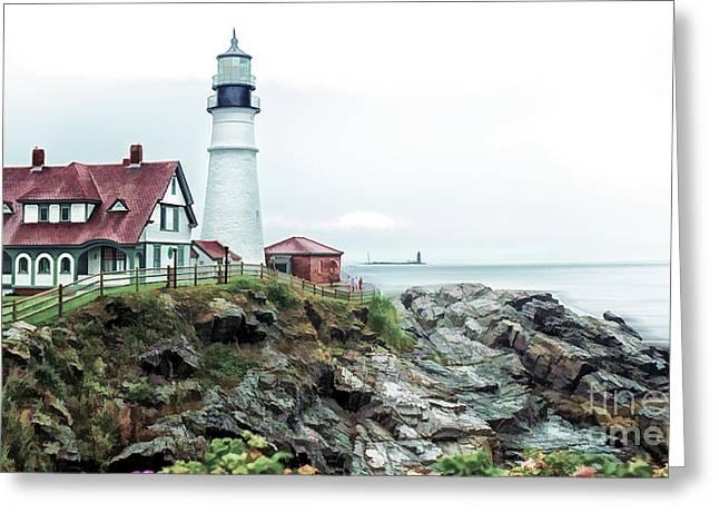 Lighthouse Greeting Cards - Coastline Sentinel Greeting Card by Arnie Goldstein