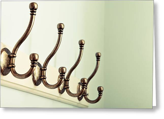 Coat Hooks Greeting Card by Tom Gowanlock