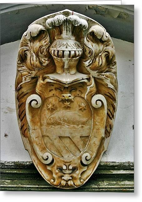 Lion Gargoyle Greeting Cards - Coat of Arms Amalfi Greeting Card by Henry Kowalski