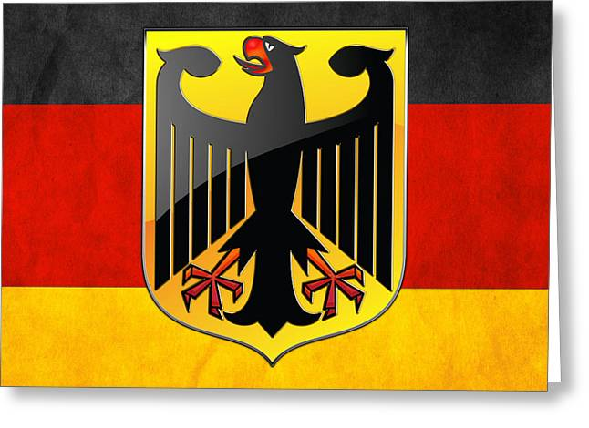 Deutschland Greeting Cards - Coat of Arms and Flag of Germany Greeting Card by Serge Averbukh