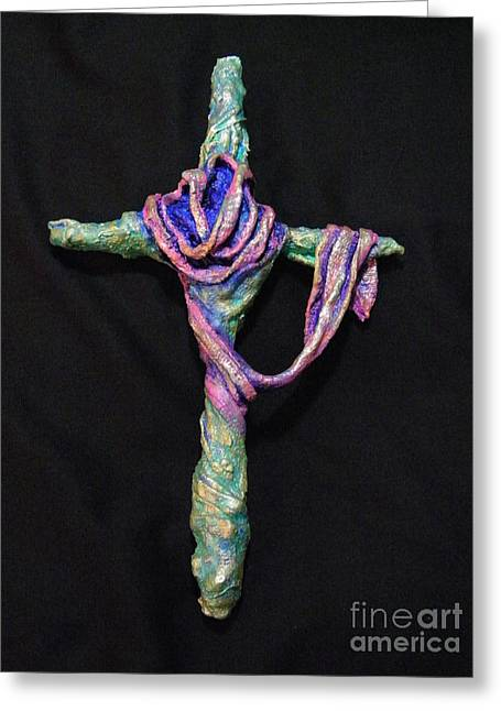 Faith Sculptures Greeting Cards - Coat of Many Colors Greeting Card by Jan Reid