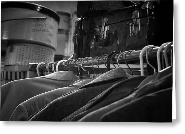 Coat Hanger Greeting Cards - Coats Hatboxes and a Trunk - bw Greeting Card by Nikolyn McDonald