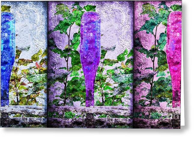 Old Fence Posts Mixed Media Greeting Cards - Cobalt Blue Purple And Magenta Bottles Collage Greeting Card by Andee Design