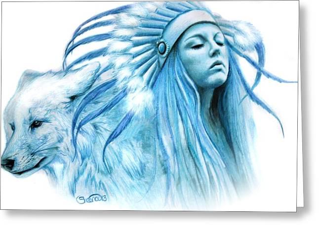 Wolf Woman Greeting Cards - Cobalt Warrior Princess Greeting Card by Sheena Pike