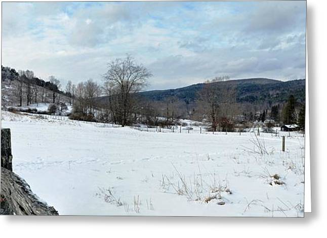 New England Snow Scene Greeting Cards - Cobble Mountain Panorama Greeting Card by Geoffrey Coelho