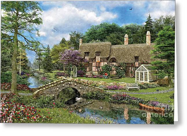 Copyright Protected. Greeting Cards - Cobble Walk Cottage Greeting Card by Dominic Davison