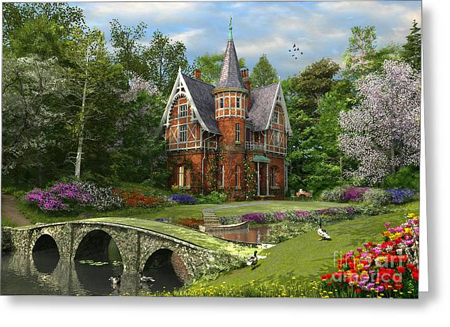 Gothic Mansion Greeting Cards - Cobbled Bridge Cottage Greeting Card by Dominic Davison