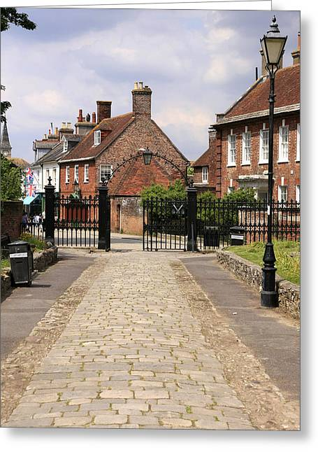 Old Roadway Greeting Cards - Cobbled Christchurch Greeting Card by Chris Smith