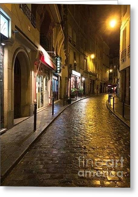 Pause Greeting Cards - Cobbled Lane on the Left Bank Greeting Card by Barbara Chase