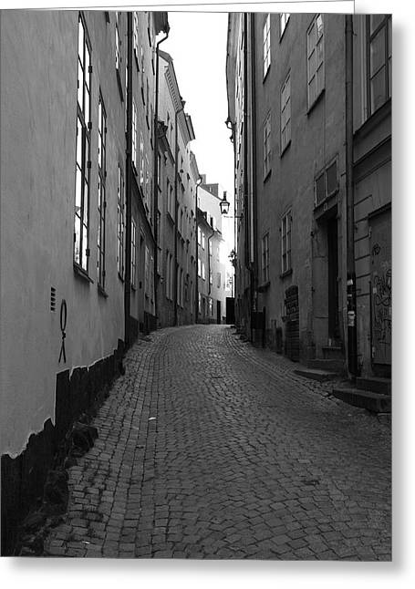 Buildings And Narrow Lanes Greeting Cards - Cobbled street - monochrome Greeting Card by Intensivelight