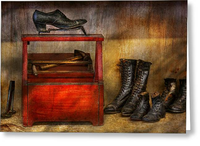 Boot Fetish Greeting Cards - Cobbler - Life of the cobbler Greeting Card by Mike Savad